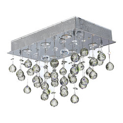 Worldwide Lighting - Icicle 6 Light Chrome Finish Raindrop Crystal Flush Ceiling Light - This stunning 6-light Ceiling Light only uses the best quality material and workmanship ensuring a beautiful heirloom quality piece. Featuring a radiant chrome finish and finely cut premium grade crystals with a lead content of 30%, this elegant ceiling light will give any room sparkle and glamour. Worldwide Lighting Corporation is a privately owned manufacturer of high quality crystal chandeliers, pendants, surface mounts, sconces and custom decorative lighting products for the residential, hospitality and commercial building markets. Our high quality crystals meet all standards of perfection, possessing lead oxide of 30% that is above industry standards and can be seen in prestigious homes, hotels, restaurants, casinos, and churches across the country. Our mission is to enhance your lighting needs with exceptional quality fixtures at a reasonable price.