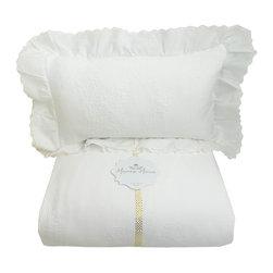 Mayenne Maison - Provence Eyelet Ruffled Bedspread - 100% Cotton Matelasse.