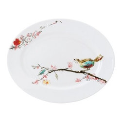 Lenox Chirp Medium Platter - Foodies of a feather flock together when noshing on tasty treats served on the Lenox Chirp Medium Platter. Perfect for entertaining or everyday use, this round serving platter holds an assortment of appetizers, cookies, cheese, crackers, and other treats. It's made in the USA of fine bone china with a charming bird-and-branch design, done in a watercolor style. Safe for use in your dishwasher, oven, microwave, and freezer, this platter will serve your family for many meals to come.About Lenox CorporationLenox Corporation is an industry leader in premium tabletops, giftware, and collectibles. The company markets its products under the Lenox, Dansk, and Gorham brands, propelled by a shared commitment to quality and design that makes the brands among the best known and respected in the industry. Collectively, the three brands share 340 years of tabletop and giftware expertise.