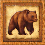 The Tile Mural Store (USA) - Tile Mural - Lodge Grizzly Bear 1   - Kitchen Backsplash Ideas - This beautiful artwork by Dan Morris has been digitally reproduced for tiles and depicts a framed bear.    A bear tile mural would be perfect as a part of your kitchen backsplash tile project or your tub and shower surround bathroom tile project. Bear images on tile make a great kitchen backsplash idea and are excellent to use in the bathroom too for your shower tile project. Consider a tile mural with bear pictures for any room in your home where you want to add wall tile with interest.