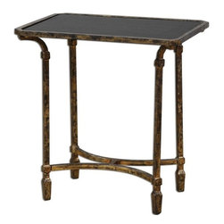 Matthew Williams - Matthew Williams Zion Metal End Table X-36342 - Artisan-forged iron with cast iron details in heavily tarnished gold leaf, inset with sleek, black tempered glass top.