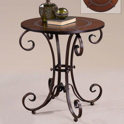 Uttermost - Lyra End Table - Features: -Designer: Matthew Williams.-Hand forged metal base with studded faux leather top.-MDF and metal construction.-Ancient Bronze finish.-Distressed: No.