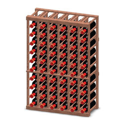 Vinotemp - 6-Column Half-Height Wine Rack - Floor standing. Made from premium redwood. Fits 60 bottles. 26.87 in. W x 12 in. D x 39.62 in. H (45 lbs.). Minimal assembly required. Made in USA. Custom made: 8 to 10 weeks lead time. 3.75 in. racking. Fit most 750-ml bottles. Provides an attractive and functional wine storage area. Triple sanded edges. Prevent label tearing and splinters. Completely customizable. WarrantyThese racks are a great modular option to build your own wine room.