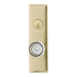 Quaker Entrance Set with Crystal Knob - With its smooth, hard edged, rectangular shape, this Quaker Entrance Set fares well in both modern homes and Art Deco style houses.