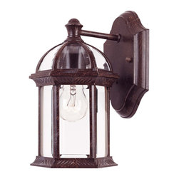 Savoy House - Kensington Wall Mount Lantern - Classic exterior fixture available in Rustic Bronze with Clear Beveled Glass.