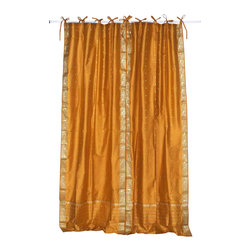 Indian Selections - Pair of Mustard Tie Top Sheer Sari Curtains, 43 X 63 In. - Size of each curtain: 43 Inches wide X 63 Inches drop.