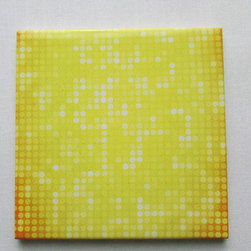 Custom Photo Factory - Daltile Ceramic Wall Tile Multiple Yellow Dots Pattern . - Pack of/Case of: 20 Tiles. Samples Available for purchase. All of our tiles are printed on white ceramic Daltile; the same high quality tiles found at the hardware store. Our ceramic tiles are permanent designs. They are scratch resistant and highly resistant to chemical wear and sunlight. As a matter of fact, our tiles will never fade, even in direct sunlight, 24 hours a day. The only way to damage the print is to damage the tile itself by breaking it. For use in residential and commercial. Glazed glossy finish with a high sheen and uniform appearance in tone. Dimensions of tile: 3 inches x 6 inches or 4 inches x 4 inches (actual 4-1/4 in. x 4-1/4 in). Installation: Indoor and outdoor use on walls in your kitchen and bath and living area.