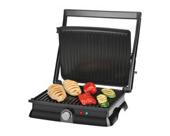 Kalorik - Kalorik Stainless Steel Panini Maker - Whatever the weather, this contact grill gives you that great backyard barbecue flavor direct from the kitchen while it promotes healthy, low-fat cooking. Premium non-stick surface sears perfect steaks, chops, burgers, veggies and paninis as fats drain away into the external drip tray. Large cooking surface feeds the whole family. Floating hinge adjusts to thickness of food or opens flat for double the cooking surface. Adjustable temperature control for perfect cooking with maximum control. Adjustable grill height fits your favorite foods.