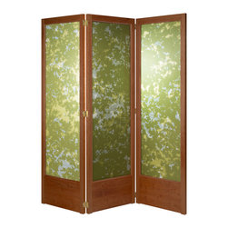 lyos lightscreens - Grove Lightscreen, Cherry Frame, Strafford Insert - This luminous, handcrafted screen can help you divide and transform interior space while letting light through.  Heirloom quality woodworking with mortise and tenon joints, clear satin finish, double acting hinges and adjustable feet. Innovative removable translucent inserts can be replaced with alternative designs. This cherry frame comes with printed crepe de chine silk fabric inserts - a two sided fabric sleeve printed darker green on one side and lighter on the other, stretched over an aluminim flat bar frame (Frame not visible when installed). Variations in angle and intensity of light coming through fabric evokes the mottled light of sun through summer foliage.