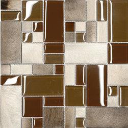 "Mosaic Decor - Brown Metal Glass Modern Kitchen Mosaic Backsplash Tile, 12"" X 12"" Sheet - Brown Metal Glass Modern Kitchen Mosaic Backsplash Tile"