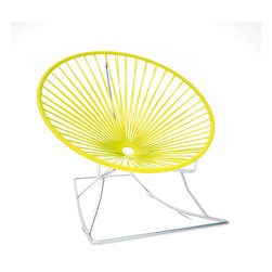Innit Rocker, Chrome Frame With Yellow Weave - Sleek chrome and vinyl come together seamlessly to form this comfy rocking chair made for indoor or outdoor use. The hoop shape creates a supportive place to rest, and the chrome base keeps you rocking for added relaxation. It's available in multiple colors to match your every decor need or whim.