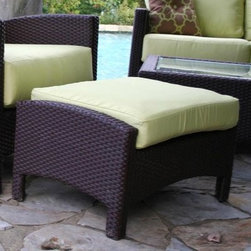 Anacara Atlantis All-Weather Wicker Ottoman - We're pleased to offer our #1 selling Sunbrella Canvas Natural which ships within 24 hours of your order being placed. No other online retailer can offer quality, custom furniture with a quicker ship time!Lend a hint of the exotic to your patio or garden setting with the Atlantis Wicker Ottoman with Cushion. This stylish, comfortable ottoman with raised and curved sides perfectly complements chairs in the Atlantis collection. Featuring an aluminum frame, this durable ottoman is wrapped in all-weather resin wicker. It is designed to withstand even the harshest conditions. The ottoman boasts a rich, bold espresso finish and includes plush cushions available in your choice of a variety of different color options, from muted solids to brightly patterned prints.Choose from three grades of fabric. Grade A is an outdoor fabric with a printed color or pattern. Grades B and C are solution-dyed fabrics. All three are designed for outdoor use, however Grade B and C fabrics, that differ only slightly in their manufacturing process, are more fade resistant. Solution dying refers to the color being soaked into each thread. Printed fabrics have the color on the top side of the fabric only. We recommend Grade B and C fabrics for extremely sunny regions or patios that are in direct sunlight. Grade A fabrics are amazing quality fabrics, but will fade quicker than Grade B and C fabrics when used in direct sunlight. Grade A fabrics have a 1-year fade warranty and Grade B and C fabrics have a 2-year fade warranty.Important NoticeThis item is custom-made to order, which means production begins immediately upon receipt of each order. Because of this, cancellations must be made via telephone to 1-800-351-5699 within 24 hours of order placement. Emails are not currently acceptable forms of cancellation. Thank you for your consideration in this matter.Recommended care for all-weather wicker: Wipe wicker clean with a damp cloth and a solution of mild dish soap and water if needed. Spot-clean cushions with a solution of mild dish soap and water - do not use harsh chemicals.Recommended care for cushions: Clean cushion fabrics with a solution of one cup of mild detergent mixed with four gallons of water. Use a sponge to clean the cushion fabrics and rinse thoroughly with clean water. Allow fabric to air-dry. As general maintenance, avoid allowing dirt to build up on cushions. To keep cushions looking their best, store or cover them when not in use for an extended period of time.