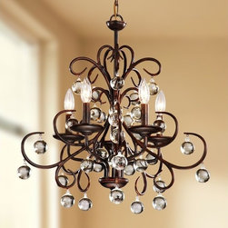 None - Wrought Iron and Crystal 5-light Chandelier - Illuminate your home in style with this beautiful five-light chandelier. Featuring a wrought iron fitting in a fashionable swirl design,it offers stylish durability. The semi-polished dark amber fixture and crystal drops promise the perfect ambiance.