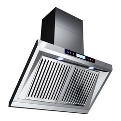 GOLDEN VANTAGE - GV 36-Inch Stainless Steel Wall Range Hood W/Unique Slope Design - Our Contemporary Europe design range hoods capture the most pollutants, grease, fumes, cooking odors in a quiet way but maintain a strong CFM From 300-900 depends on the style or model you choose. GV products not only provide top notch quality of material, we also offer led lighting, quiet chamber blower,adjustable telescopic chimney. All of our range hoods can convert to ventless/ductless options if outside exhaust not permitted.
