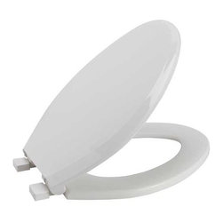 PREMIER - Premier 283032 Slow-Close, Elongated Toilet Seat, Plastic, White - # Quiet-close action Integrally-molded, permanent and sanitary color-keyed bumpers Scratch-resistant high-gloss finish Ergonomic contour fit  Impact absorbing hinges  toilet seat; bathroom; elongated; plastic; slow close