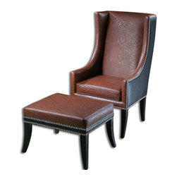 Uttermost - Uttermost Detrick Ottoman in Leather - Hardwood Frame Tailored in Sienna and Black Faux Leathers with Polished Nickel Accent Nails and Ebony Stained Legs.