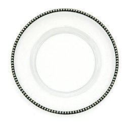 Tesoro Plates - Charger - A striking charger that naturally combines well with any table setting, the Tesoro Charger Plate would be uniquely desirable even were it only a clear, mouth-blown glass dish. Its edge, however, is rimmed in weighty pewter with a sizeable pattern of repeated beads e creating classicism with a novel look. Pair with casual dinnerware for an exquisite increase in detail and formality.