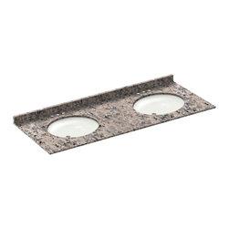 LessCare - 61x22 Burlywood Granite Vanity Countertops - 4 Faucet Spread - *Condition: New