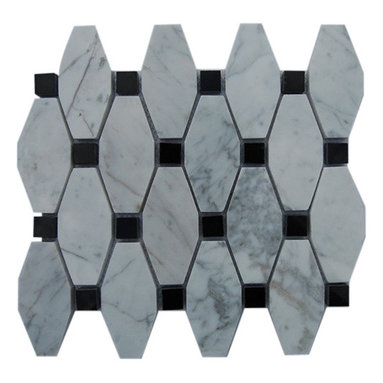 """Octave Pattern White Carrera With Black Dot Marble Tile - OCTAVE PATTERN WHITE CARRERA WITH BLACK DOT GLASS TILE These hand-made window patterns are made from stone mosaics, each piece fits into the next like a perfect puzzle. Its stunning design and unique pattern of squares and oblong octagons will bring warmth and a natural ambience to your home. Chip Size: 3 3/4"""" x 2"""" Dot: 3/4"""" x 3/4"""" Color: White Carrera, Black Material: White Carrera, Black Absolute Marble Finish: Polish Sold by the Sheet - each sheet measures 12"""" x 11"""" (0.92 sq. ft.) Thickness: 8mm"""