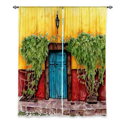 """DiaNoche Designs - Window Curtains Lined by Marley Ungaro - Blue Door - DiaNoche Designs works with artists from around the world to print their stunning works to many unique home decor items.  Purchasing window curtains just got easier and better! Create a designer look to any of your living spaces with our decorative and unique """"Lined Window Curtains."""" Perfect for the living room, dining room or bedroom, these artistic curtains are an easy and inexpensive way to add color and style when decorating your home.  This is a woven poly material that filters outside light and creates a privacy barrier.  Each package includes two easy-to-hang, 3 inch diameter pole-pocket curtain panels.  The width listed is the total measurement of the two panels.  Curtain rod sold separately. Easy care, machine wash cold, tumble dry low, iron low if needed.  Printed in the USA."""