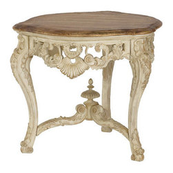 Hammary - Hammary Jessica McClintock Round Carved End Table with Revival Top in White Veil - Round Carved End Table with Revival Top in White Veil Belongs to Jessica McClintock Collection by Hammary