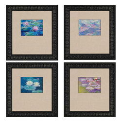 Paragon - Waterlilies PK/4 - Framed Art - Each product is custom made upon order so there might be small variations from the picture displayed. No two pieces are exactly alike.