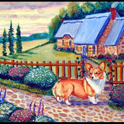 Caroline's Treasures - Pembroke Corgi At The Cottage Indoor Or Outdoor Mat 24X36 Doormat - Indoor / Outdoor Mat 24x36 - 24 inches by 36 inches. Permanently dyed and fade resistant. Great for the front door or the back door.  Use this mat inside or outside.    Use a garden hose or power washer to chase the dirt off of the mat.  Do not scrub with a brush.  Use the Vacuum on floor setting.  Made in the USA.  Clean stain with a cleaner that does not produce suds.