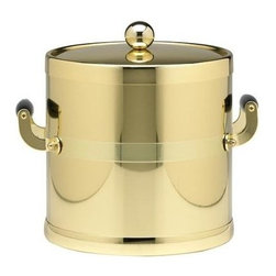 Kraftware - Americano 3-qt. Ice Bucket in Shiny Brass - Wooden side handles and bands. Metal cover. Made in USA. 9 in. Dia. x 9 in. H (3 lbs.)The Grant Signature Home Collection's Americano Collection is the only Real Metal Collection in the U.S.A. This is real home entertaining quality at affordable prices.