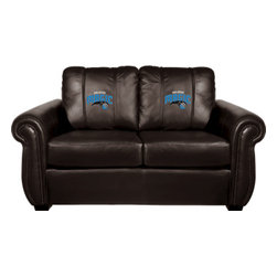 Dreamseat Inc. - Orlando Magic NBA Chesapeake BLACK Leather Loveseat - Check out this awesome Loveseat. It's the ultimate in traditional styled home leather furniture, and it's one of the coolest things we've ever seen. This is unbelievably comfortable - once you're in it, you won't want to get up. Features a zip-in-zip-out logo panel embroidered with 70,000 stitches. Converts from a solid color to custom-logo furniture in seconds - perfect for a shared or multi-purpose room. Root for several teams? Simply swap the panels out when the seasons change. This is a true statement piece that is perfect for your Man Cave, Game Room, basement or garage.