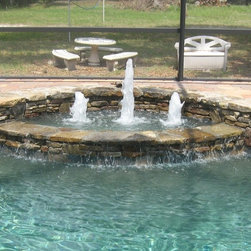 Fountain with Bubblers and Stacked Stone -