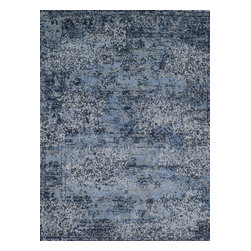 """Loloi Rugs - Viera Contemporary Rug VIERVR-06LBGY - 5'-3"""" X 7'-7"""" - Classically expressed design elements enjoy a graphic, modern twist in the Viera Collection. Power-loomed of 100-percent polypropylene, these tasteful contemporary and refined transitional designs reverberate with style. A deliberate high-low pile adds to the worn, vintage look and finish of each rug. Ultra sophisticated black/ivory and mocha/ivory color options add broad appeal to this timely yet timeless collection."""