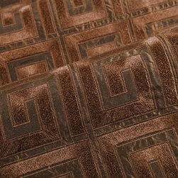 Apollo Upholstery in Chocolate - Apollo Upholstery Fabric in Chocolate Brown.  A geometric design with an interpretive Greek Key Pattern. Apollo is 100% silk taffeta offered at a greatly discounted price.  An interior designer quality fabric that is perfect for all upholstery projects.