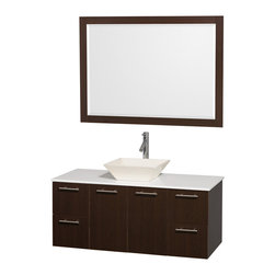 Wyndham - Amare 48in. Wall Vanity Set in Espresso w/ White Stone Top & Bone Procelain Si - Modern clean lines and a truly elegant design aesthetic meet affordability in the Wyndham Collection Amare Vanity. Available with green glass or pure white man-made stone counters, and featuring soft close door hinges and drawer glides, you'll never hear a noisy door again! Meticulously finished with brushed Chrome hardware, the attention to detail on this elegant contemporary vanity is unrivalled.