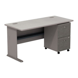 "Bush - Bush Series A 60"" Computer Desk with 2-Drawer File Cabinet in Pewter - Bush - Office Sets - SMA005PESU - Roll up your sleeves and create custom workspace. Bush Series A Pewter Finish 60"" Desk with 2-Drawer File match and fit beautifully with other pieces from the Series A collection. Five-foot width is compact yet offers plenty of space to spread out. Two wire management ports keep unsightly cords and cables hidden. Under desk shelf provides a place for small items. Versatile, 2-Drawer File puts the benefits of mobile storage where you need it most. Goes to work immediately under all Series A desks. File/file configuration lets you store letter, legal or A4 size files. One lock secures both file drawers for security. Full-extension ball bearing slides allow easy, convenient access to back of drawers. Stylish, elliptical drawer pulls add panache. Bush Furniture 10-year warranty."
