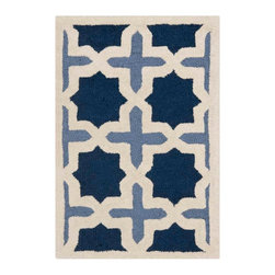 Safavieh - Aklim Hand Tufted Rug, Light Blue / Ivory 2' X 3' - Construction Method: Hand Tufted. Country of Origin: India. Care Instructions: Vacuum Regularly To Prevent Dust And Crumbs From Settling Into The Roots Of The Fibers. Avoid Direct And Continuous Exposure To Sunlight. Use Rug Protectors Under The Legs Of Heavy Furniture To Avoid Flattening Piles. Do Not Pull Loose Ends; Clip Them With Scissors To Remove. Turn Carpet Occasionally To Equalize Wear. Remove Spills Immediately. Bring classic style to your bedroom, living room, or home office with a richly-dimensional Safavieh Cambridge Rug. Artfully hand-tufted, these plush wool area rugs are crafted with plush and loop textures to highlight timeless motifs updated for today's homes in fashion colors.