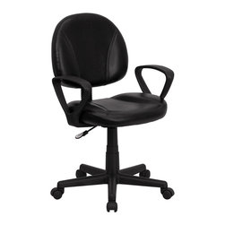 Flash Furniture - Flash Furniture Mid-Back Black Leather Ergonomic Task Chair with Arms - This Black leather task chair is the perfect companion to any home, school, or office computer area. Featuring a soft leather seat and back, sturdy nylon loop arms, and pneumatic height adjustment. This entry level computer chair is sure to suit most applicable needs. You can be sure that you have made an invaluable purchase. [BT-688-BK-A-GG]