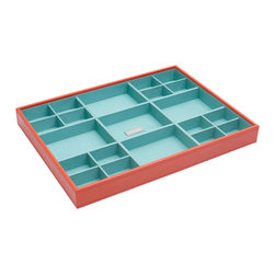 WOLF - Stackables Large Standard Tray, Orange - A vibrant, colorful combination of jewelry and accessory storage trays. Available in purple, aqua, yellow, and orange with contrasting fabric lined interiors they're perfect for organizing all of your jewelry and accessories! Each piece is sold separately and is designed to be mixed, matched and stacked to meet your individual storage needs.