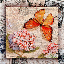 "Tile Art Gallery - Sweet Nectar II Butterfly Themed Ceramic Accent Tile - This is a beautiful sublimation printed ceramic tile entitled ""Sweet Nectar II"" by artist Janet Tava. The tile features a butterfly and a bouquet of flowers against a canvas background."