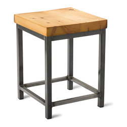 """Vermont Farm Table - Square Metal Stool, Reclaimed Pine, 18""""h - A warm wood finish is the perfect complement to the cool metal base of this industrial stool. Choose from three heights to match your counter and you'll be sitting in style. It's the perfect look for a modern home kitchen."""