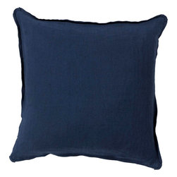 """Surya - Surya SL-012 Luxury In Linen Pillow, 20"""" x 20"""", Down Feather Filler - Add a burst of casual color sure to impress throughout your home with this immaculate pillow! Featuring charming navy blue coloring against a solid canvas, this piece radiates a cool and comfortable look that will easily translate from space to space. This pillow contains a zipper closure and provides a reliable and affordable solution to updating your home's decor. Genuinely faultless in aspects of construction and style, this piece embodies impeccable artistry while maintaining principles of affordability and durable design, making it the ideal accent for your decor."""