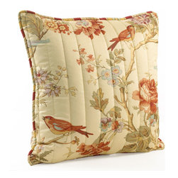 Waverly - Charleston Chirp Quilted 20-Inch pillow - - The Charleston Chirp bedding collection is a perfect example of Waverly?s old-world tradition, classic styling, and clean, contemporary fashion.   - The bedding design features branches of roses, tulips and dianthus, with beautifully placed wrens accented in a gentle palette of papaya, sage green, orange rust, eggshell blue and lavender on a soft vanilla ground.   - The all-over nature print is further enhanced by vertical stitched quilting and finished with a coordinating self-piping decorative trim to match the stripe reverse.   - Versatile, stripe to floral reversible quilt allows you to change your look in seconds for the perfect bedroom retreat.   - Coordinating reversible shams and vertical stripe bed skirt are included in the quilt set.   - Quilted shams feature a 3? scalloped flange with stripe accent self-piping.   - Complete the look with the coordinating 50? wide valance.   - 3? Rod pocket window valance fits up to a 2 1/2? decorative rod.   - Gather two or more scalloped valances on decorative rod for an elegant update to any window.   - Valances feature stripe self-piping to coordinate back to quilt set.   - Valance can be hung with solid panels of your choice for a full window ensemble.   - Quilt set and coordinating accessories are 100% cotton fabric with cotton fill.   - Imported.   - Coordinating, decorative quilted 20? square pillow only, bedding, valance, and all other coordinating items sold separately. Waverly - 11396020X020PPY