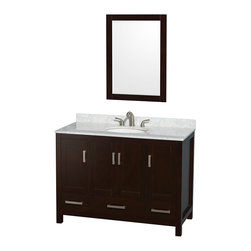 "Wyndham Collection - Sheffield 48"" Espresso Single Vanity, Carrera Marble Top & Undermount Oval Sink - Distinctive styling and elegant lines come together to form a complete range of modern classics in the Sheffield Bathroom Vanity collection. Inspired by well established American standards and crafted without compromise, these vanities are designed to complement any decor, from traditional to minimalist modern. Available in multiple sizes and finishes."