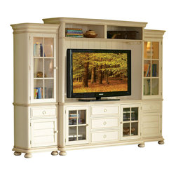 Riverside Furniture - Riverside Furniture Placid Cove TV Entertainment Center in Honeysuckle White - Riverside Furniture - Entertainment Centers - 16740289Set -Riverside Furniture Placid Cove 69 Inch TV Console in Honeysuckle White