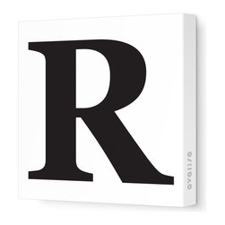 """Avalisa - Letter - Upper Case 'R' Stretched Wall Art, 12"""" x 12"""", Black - Spell it out loud. These uppercase letters on stretched canvas would look wonderful in a nursery touting your little one's name, but don't stop there; they could work most anywhere in the home you'd like to add some playful text to the walls. Mix and match colors for a truly fun feel or stick to one color for a more uniform look."""