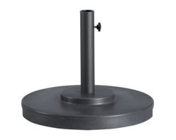 Small Charcoal Outdoor Umbrella Stand - Rugged construction in carefree rustproof fiberstone with a charcoal finish secures your outdoor umbrella.