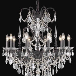 Elegant Lighting - Elegant Lighting 2021D28C(LED)/SS Chandelier from the Galaxy Collection - Elegant Lighting 2021D28C(LED)/SS Galaxy Chrome Chandelier