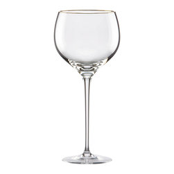 Lenox - Lenox Eternal Gold Signature Crystal Wine Glass - Banded in gold, this fine lead crystal glass by Lenox, glistens with elegance. The Eternal gold signature wine glass is designed to complement any gold-banded dinnerware for an luxurious dining experience.