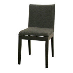 Baxton Studio - Baxton Studio Moira Black Modern Dining Chair (set of 2) - Don't let the simplicity of the Moira Dining Chair fool you - sharp, clean details fill every inch. Delight in the sturdy solid rubberwood construction, an eco-friendly option for furniture. Each chair is made of black wood with dark gray/black twill seats with foam cushioning. Adding to the modern design is an intentional gap between the chair seats and their wooden bases, creating an illusion of a floating seat.