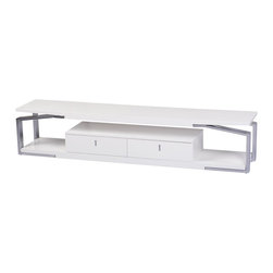 White Line Imports - Moon TV Stand in High Gloss White - This TV stand will become a functional contemporary addition to your entertainment area. Moon TV Stand features chrome frame and High gloss white top, drawers and bottom shelf.
