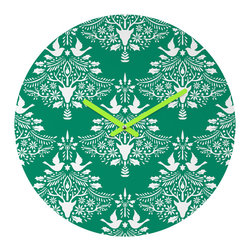 "DENY Designs - DENY Designs Jacqueline Maldonado Christmas Paper Cutting Green Round Clock - Talk about a small home decor accessory that makes a HUGE impact! Our affordable 12"" Round Clock comes complete with the artwork of your choice and coordinating clock hands. Hang it on it's own or group it in a collection. Time's a tickin'!"